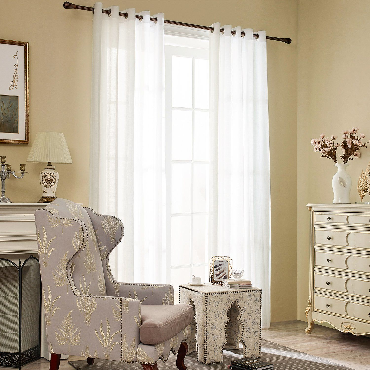 VOGOL Thick Elegant Faux Linen Sheer Curtains Design Off White Grom ...
