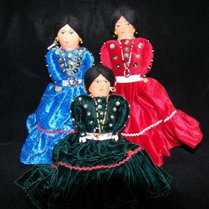 Navajo Velvet dolls  Authentic, made on the Navajo Reservation  These beautiful dolls have been made by Navajo women for many years. While traveling Route 66 or at the Harvey Houses in the Southwest, travelers have brought these stunning dolls home. They are lovely collectibles and wonderful and durable toys. They can be cherished for generations. $18