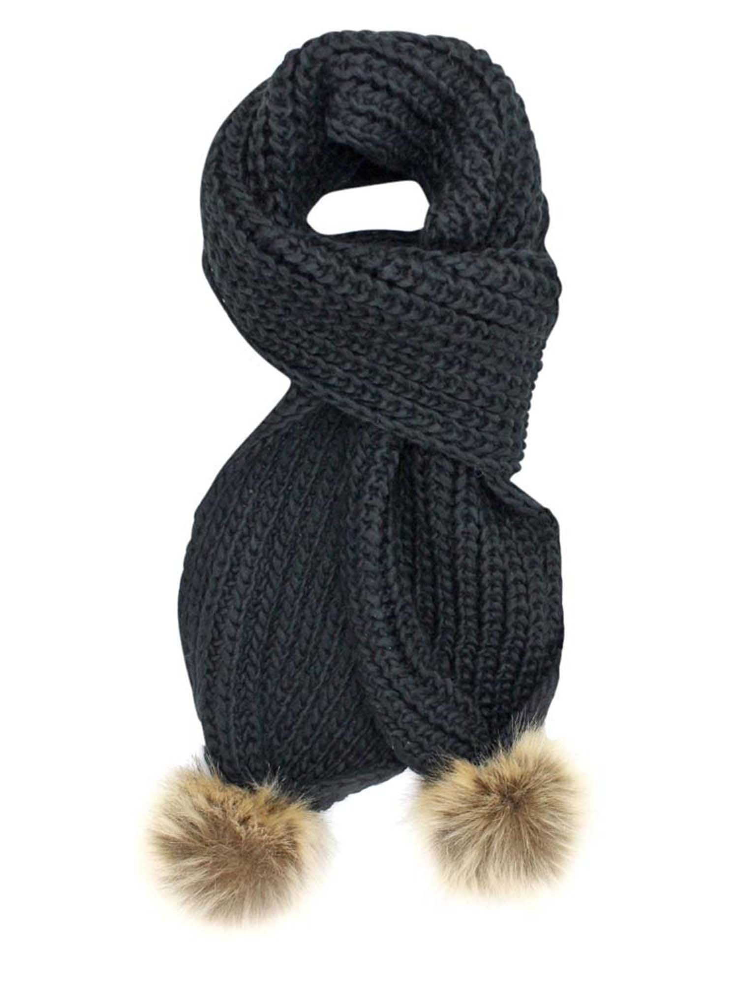 Grey Knitted Scarf With Faux Fur Pom-Pom Knitted Scarves
