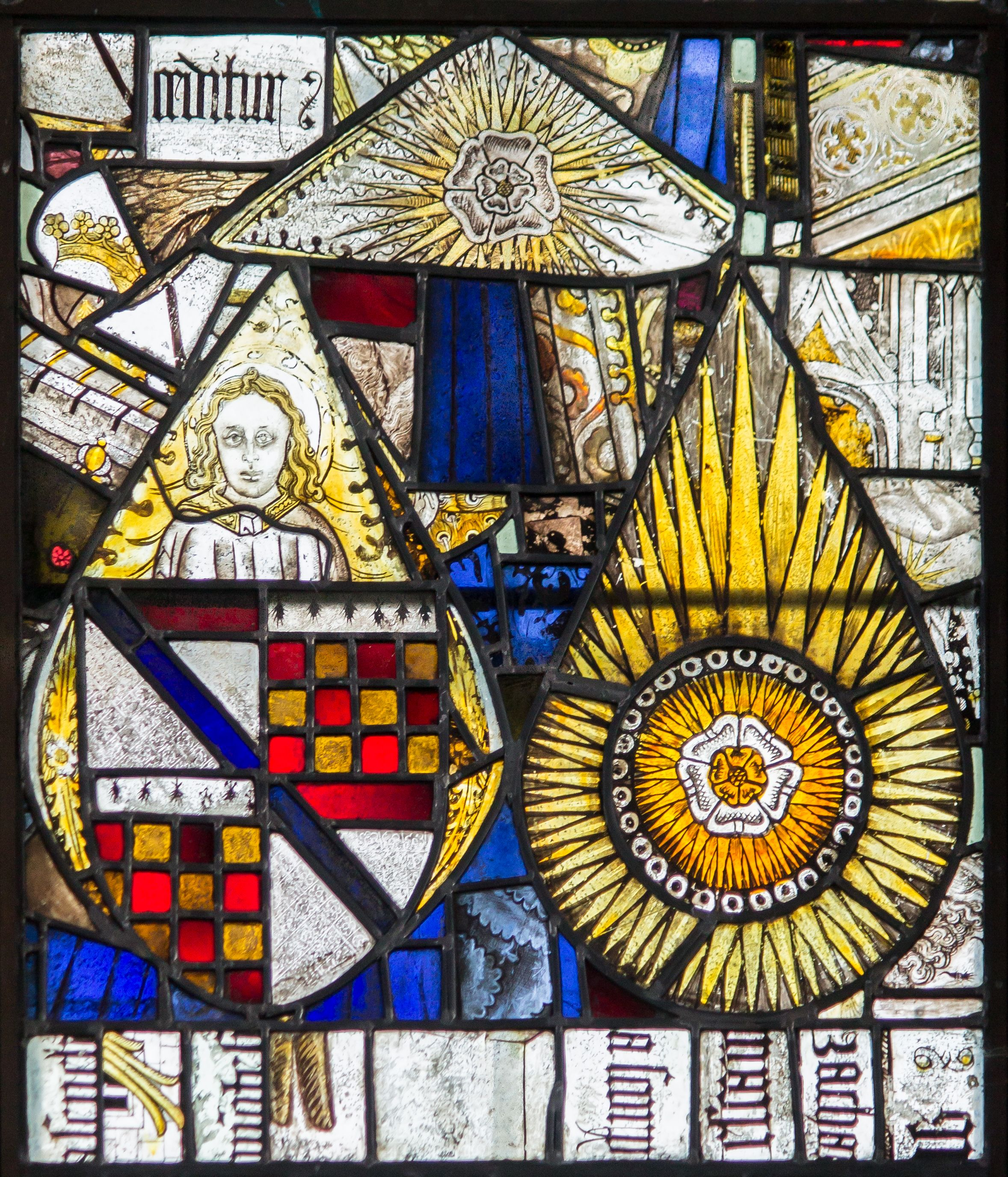 Detail of the Tateshale and Cromwell arms on armorial glass in Holy Trinity Church, Tattershal