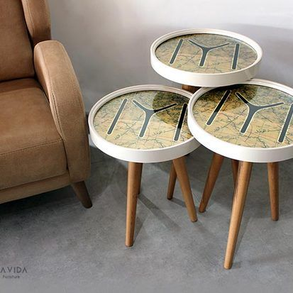 Fancy Set of Three tables. Old map design. Set of 3 coffee ta ...