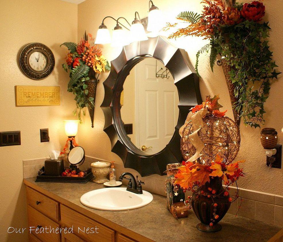 Autumn In The Powder Room Fall Bathroom Decor Fall Bathroom Fall Bathroom Decor Ideas Fall bathroom decor sets