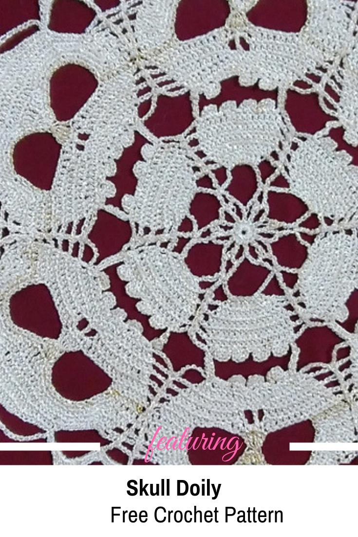 Skull Doily Free Crochet Pattern Designed With Amazing Artfulness By Tashiab Basic Granny Square Stitch Diagram Knit And Daily