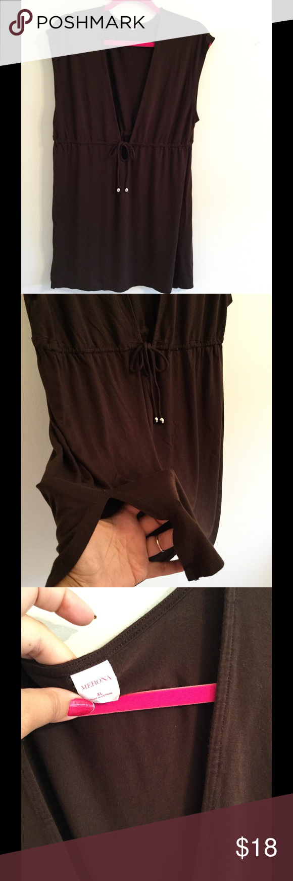 Merona NWOT Brown Swimsuit Cover up in XL Mid thigh brown cover up with small slits on the side in an XL Merona Swim Coverups