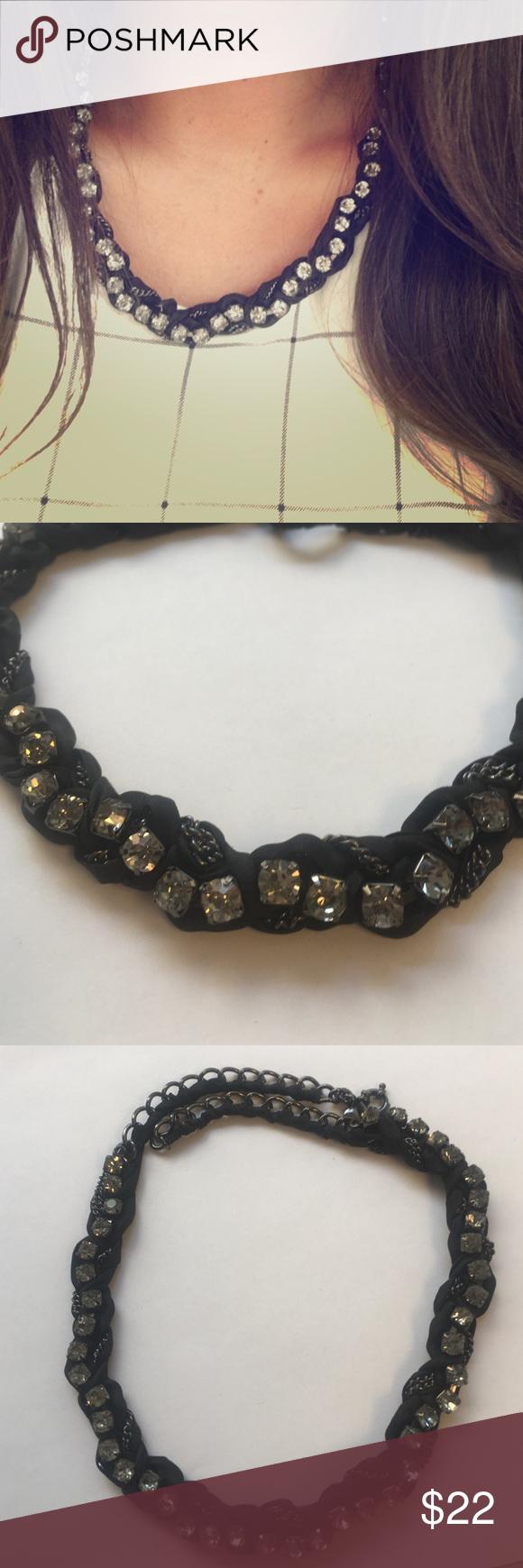 J.crew Gemstone Necklace J. Crew black satin and gem stone necklace. Dress it up or dress it down! Like new condition. J. Crew Jewelry Necklaces