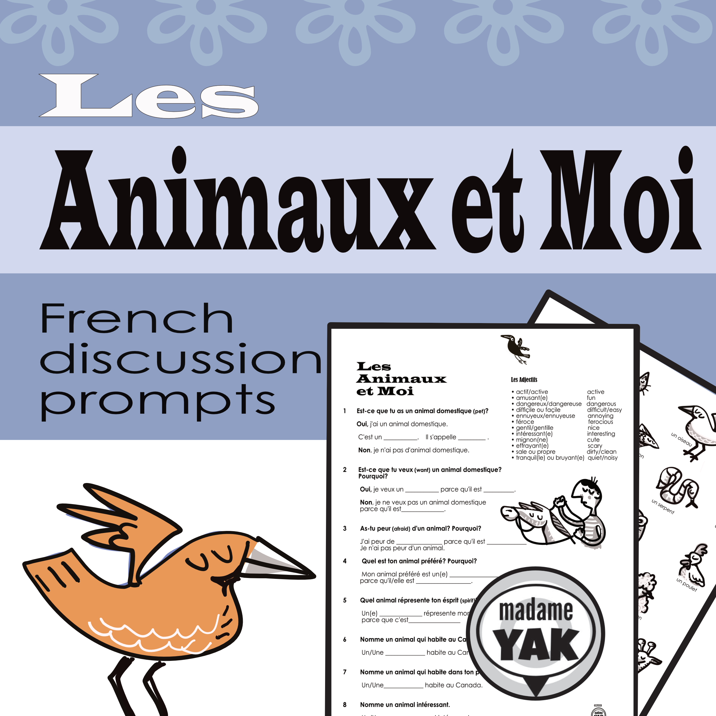 French Conversation Starters Les Animaux Animals French Conversation French Teacher Writing Activities