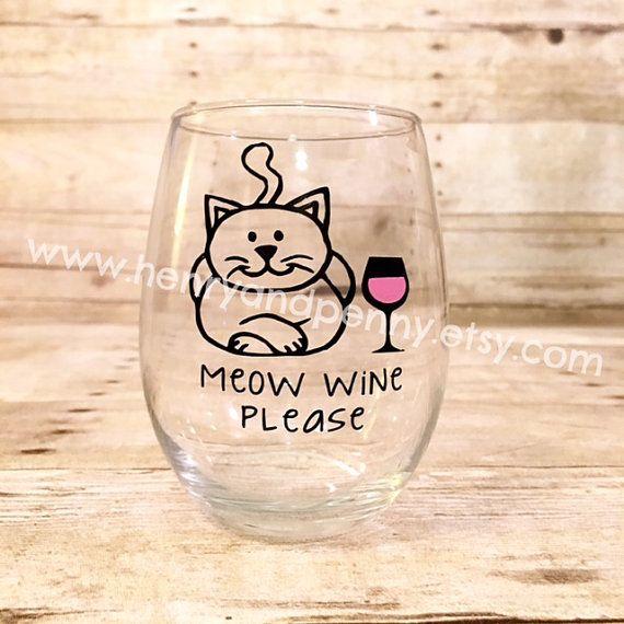 Miauw wijn Please! Aangepaste kat thema Stemless wijnglas