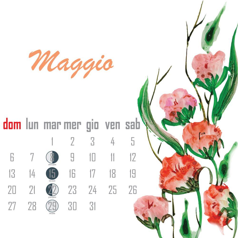 Calendario Lunare Maggio.Calendario Lunare Maggio 2018 Luna Kalender Calendario E
