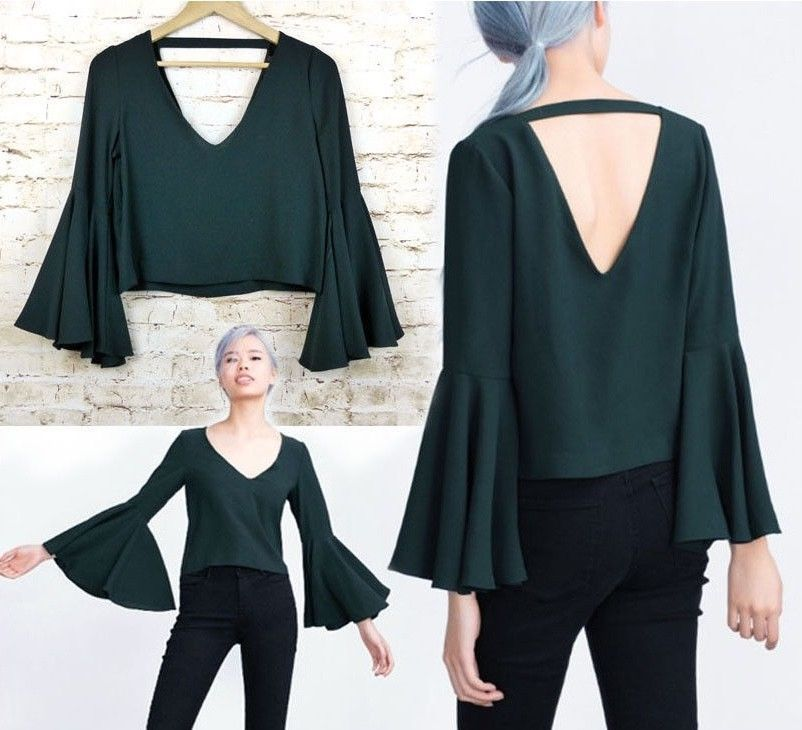 3dd2d167dbb07d ZARA Womens Sz M Bell Sleeve Crop Top Dark Emerald Green Bloggers Favorite  NWOT #Zara #Blouse #Casual