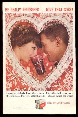 1959 Coke Valentines Day Heart Couple Photo Coca Cola Vintage Print Ad