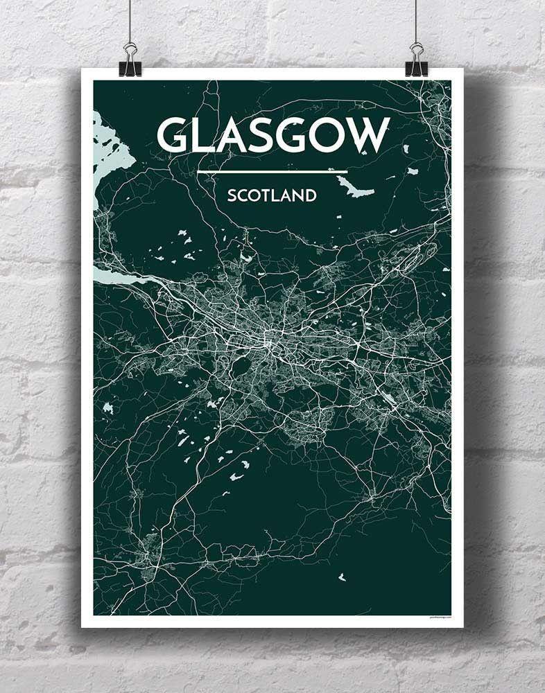 Glasgow map art print glasgow map map art print