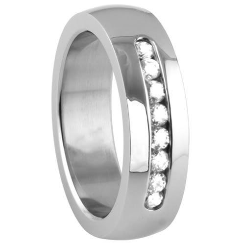 High Polished Mens 6mm Wide 316L Stainless Steel Ring Cz Set Band Wedding