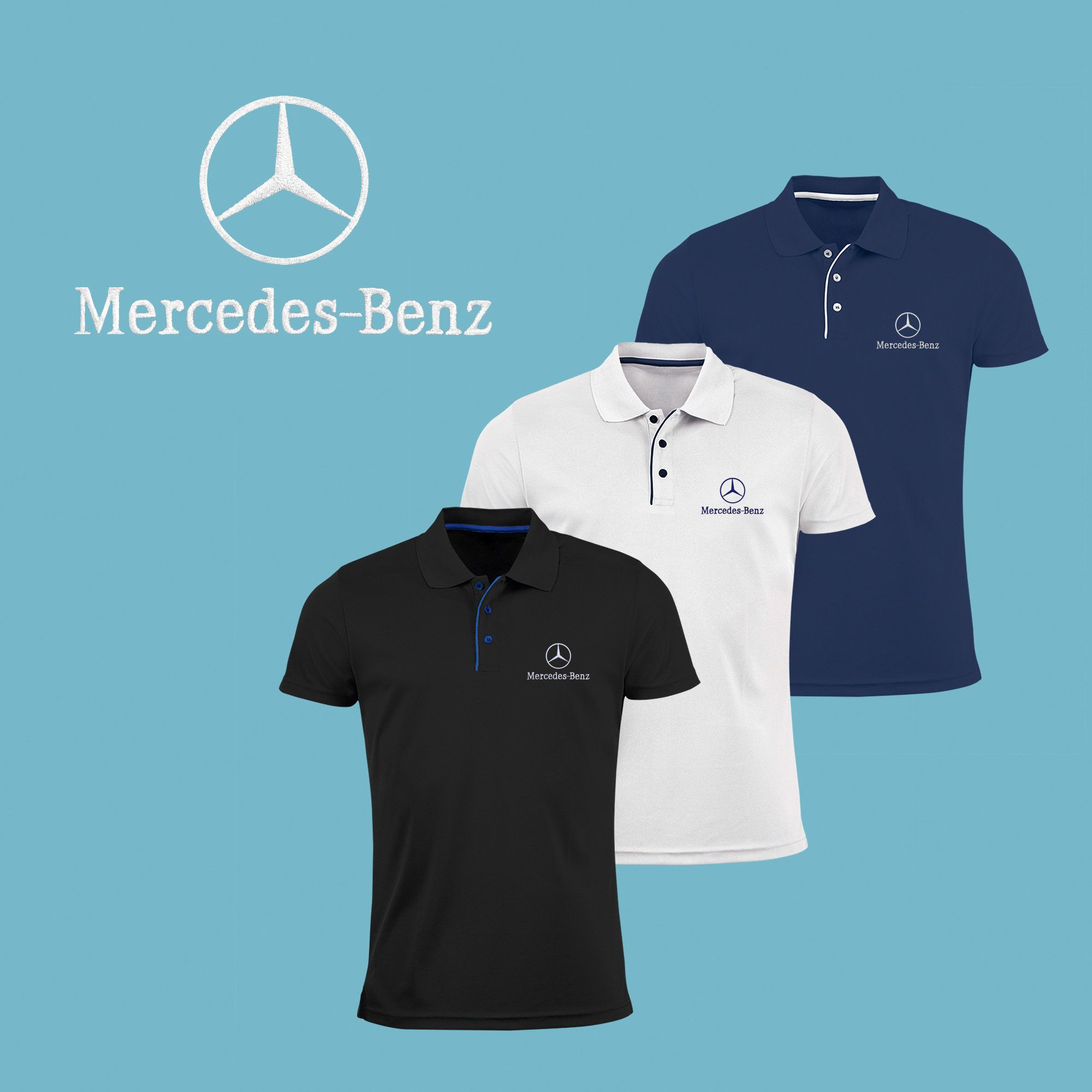 Mercedes Benz Polo T Shirt EMBROIDERED Slim Fit Black Navy
