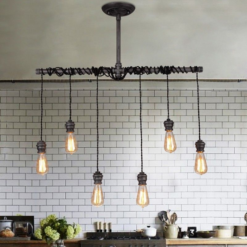 This Handsome Industrial Pendant Light Comes With Six Exposed