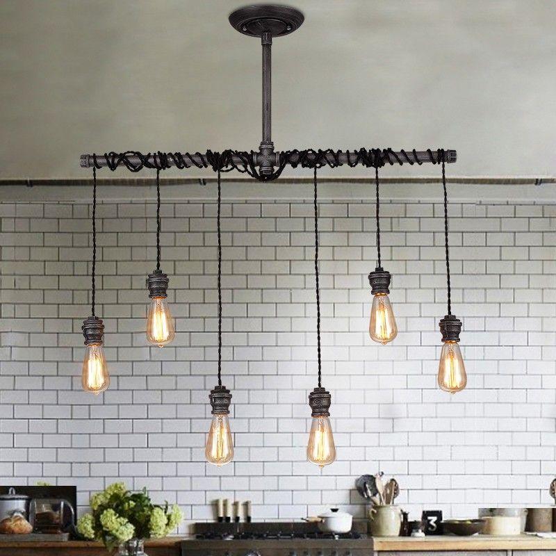 Edison Bulb Chandelier Exposed Bulbs, Pendant Lighting, Hanging Ceiling Fixture, Wood Ceiling Light, Wood Chandelier, 18 Pendant Lights