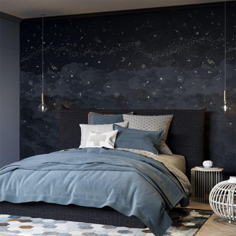 Tapisserie Luxe Chambre Papier Peint Nuit Etoiles Chambre
