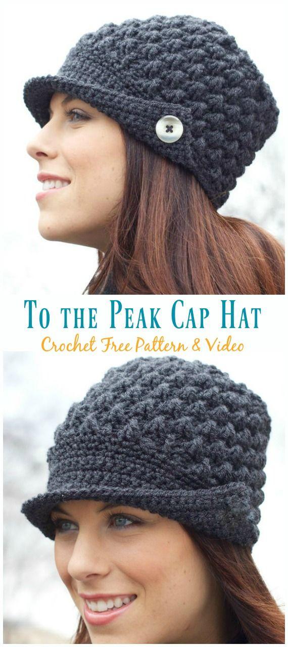 To the Peak Cap Hat Crochet Free Pattern #beaniehats