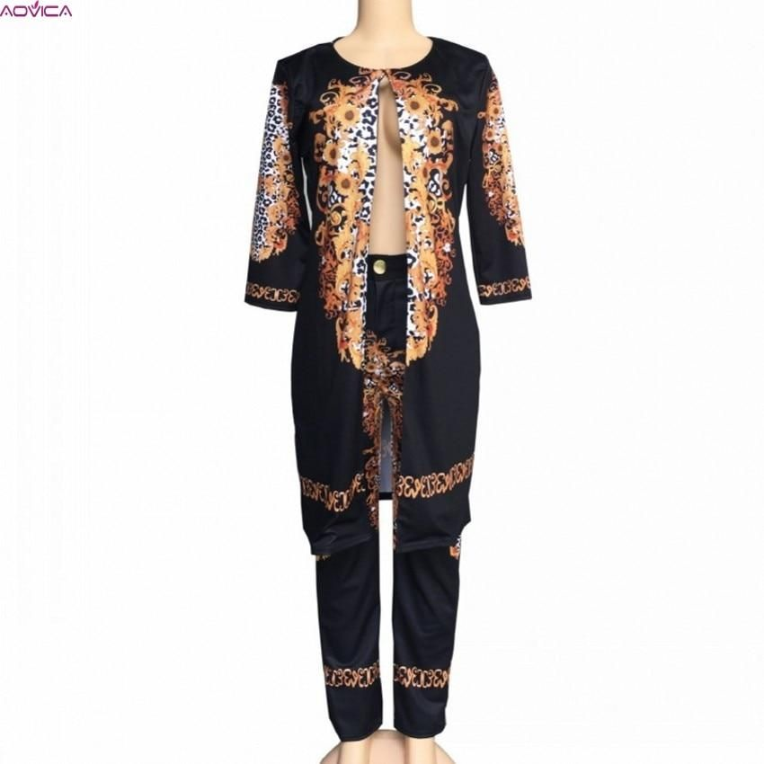 African For Women 2019 African Print Elastic Bazin Baggy Pants Rock Style Dashiki SLeeve Famous Suit Coat And Leggings 2pcs/se