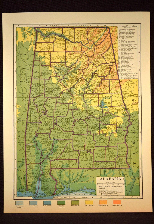 Alabama Map Alabama Topographic Map Colorful Colored Topo Map Wall - Georgia topographic map