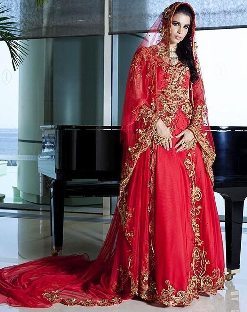 Red Muslim Wedding Dress Sweetheart Appliques Floor Length Islamic ...