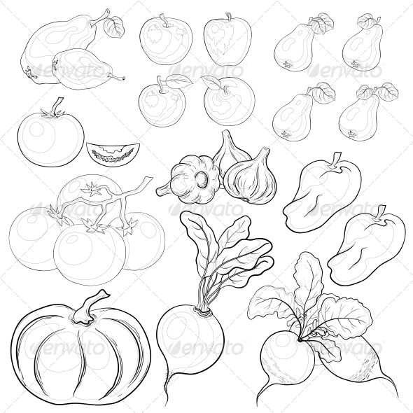 Vegetables And Fruits Outline Set Fruits Drawing Drawings Plant Drawing