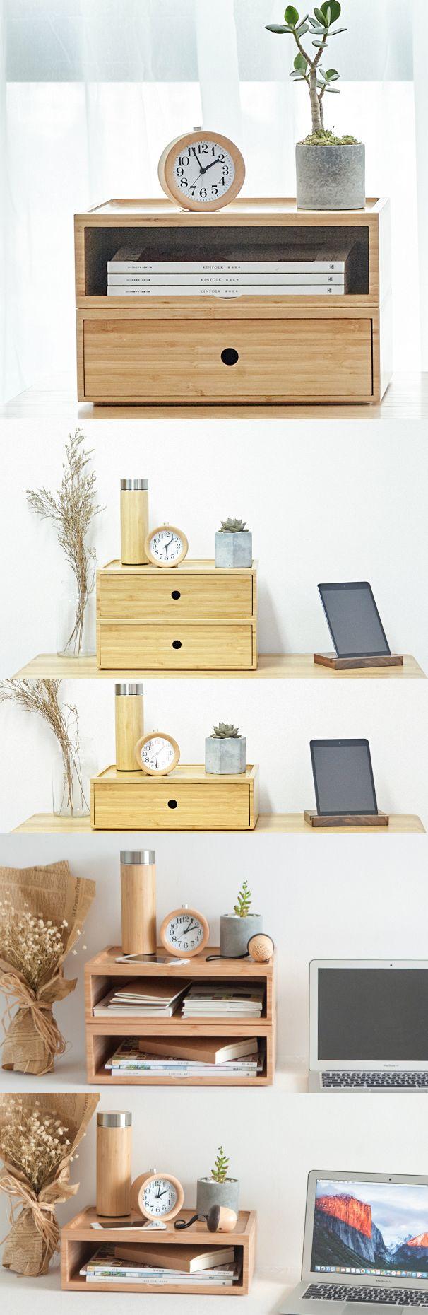 Bamboo Wooden Office Desk Organizer Magazine Letter