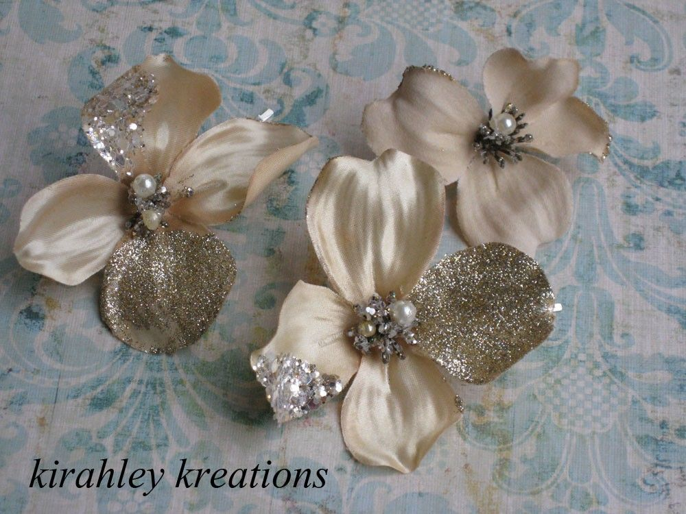 CHRISSIE -- Woodland Flower Champagne Glitter and Pearls Blossom Bobby Pin Trio. $28.00, via Etsy.