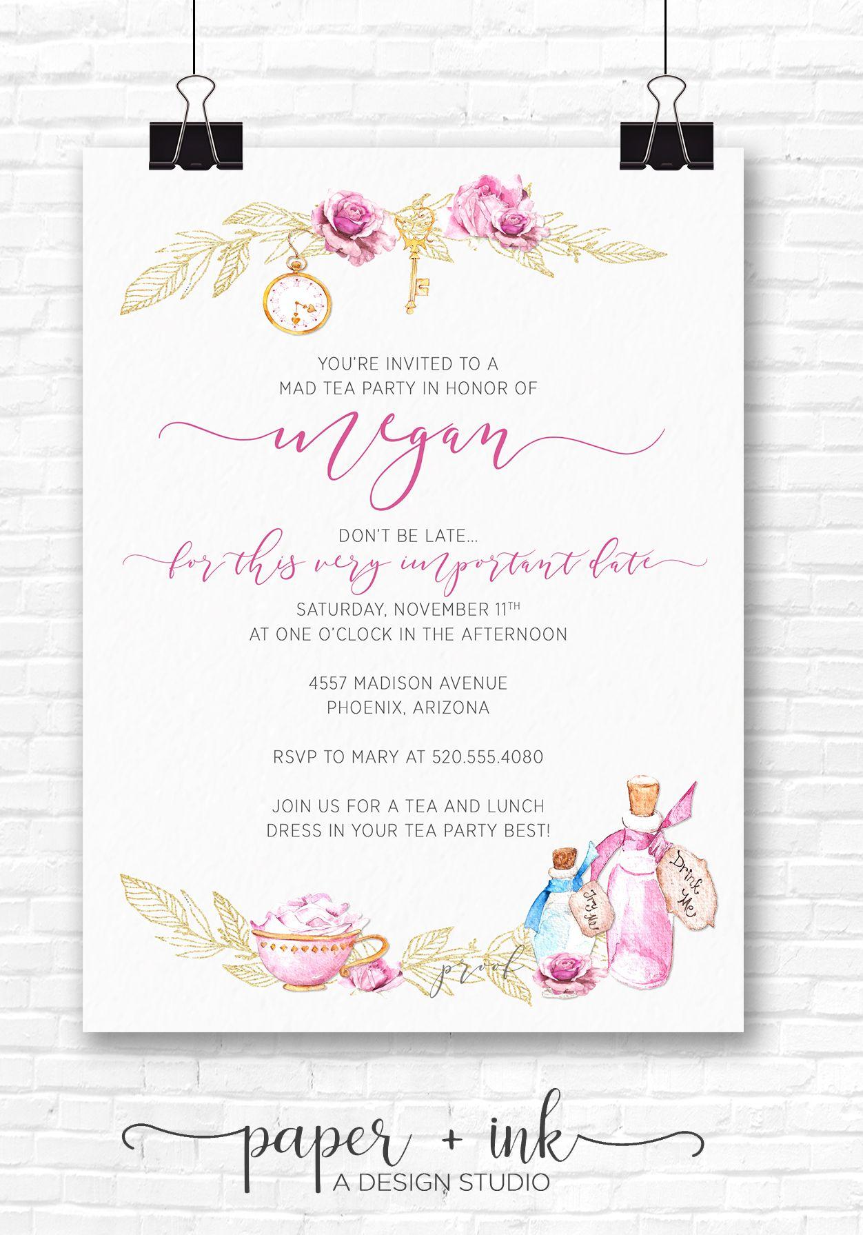 Mad Hatter Tea Party / Alice in Wonderland Invitation | paper + ink ...