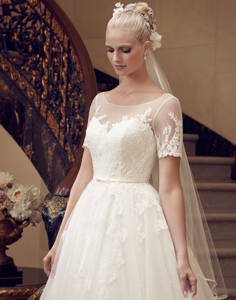 Cheap wedding dresses short front long back  Casablanca   Illusion Necklines  Pinterest  Casablanca