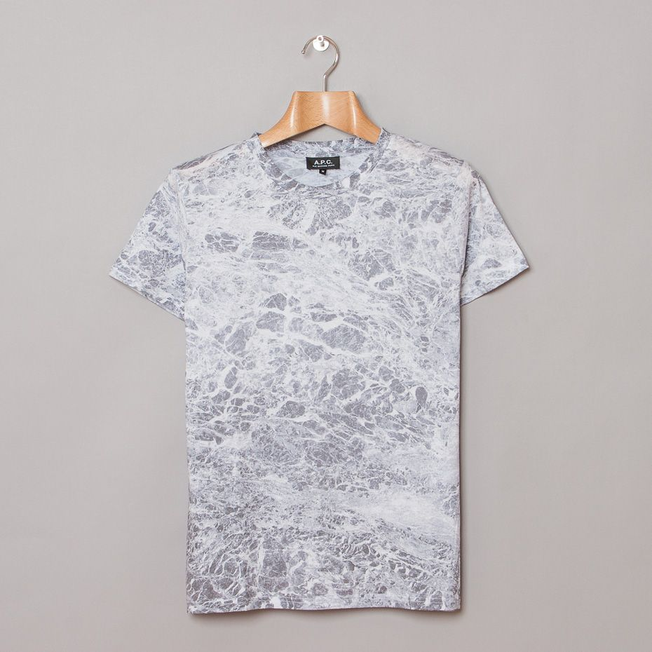 White t shirt effect - A P C Marble Print T Shirt In Grey