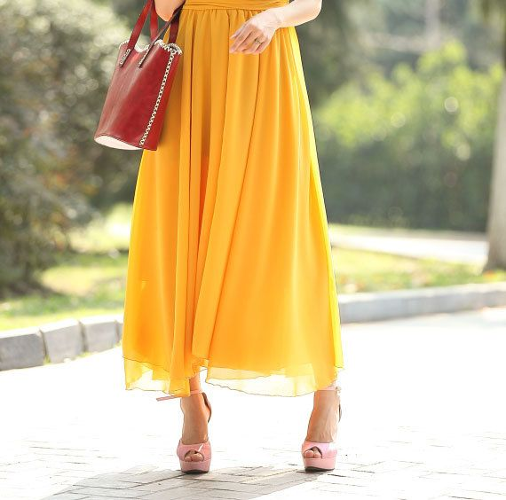 Yellow Chiffon Maxi Skirts Full Skirt Front Split by dresstore2000, $69.99