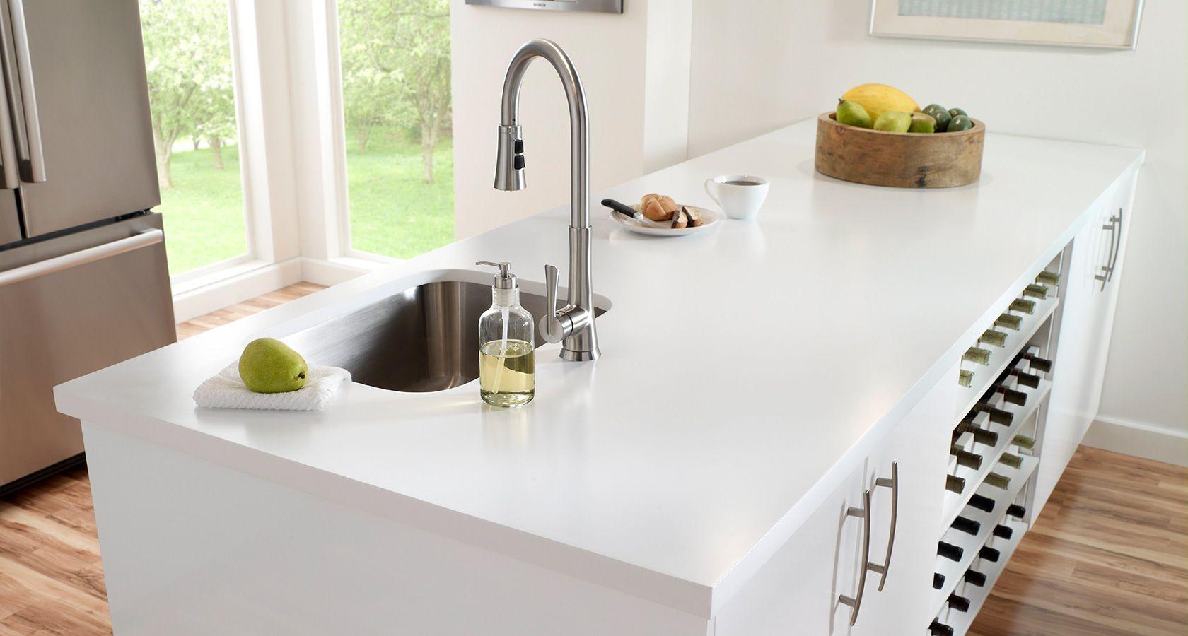 Corian Arbeitsplatten stahlend weiße küche aus den caesarstone white http