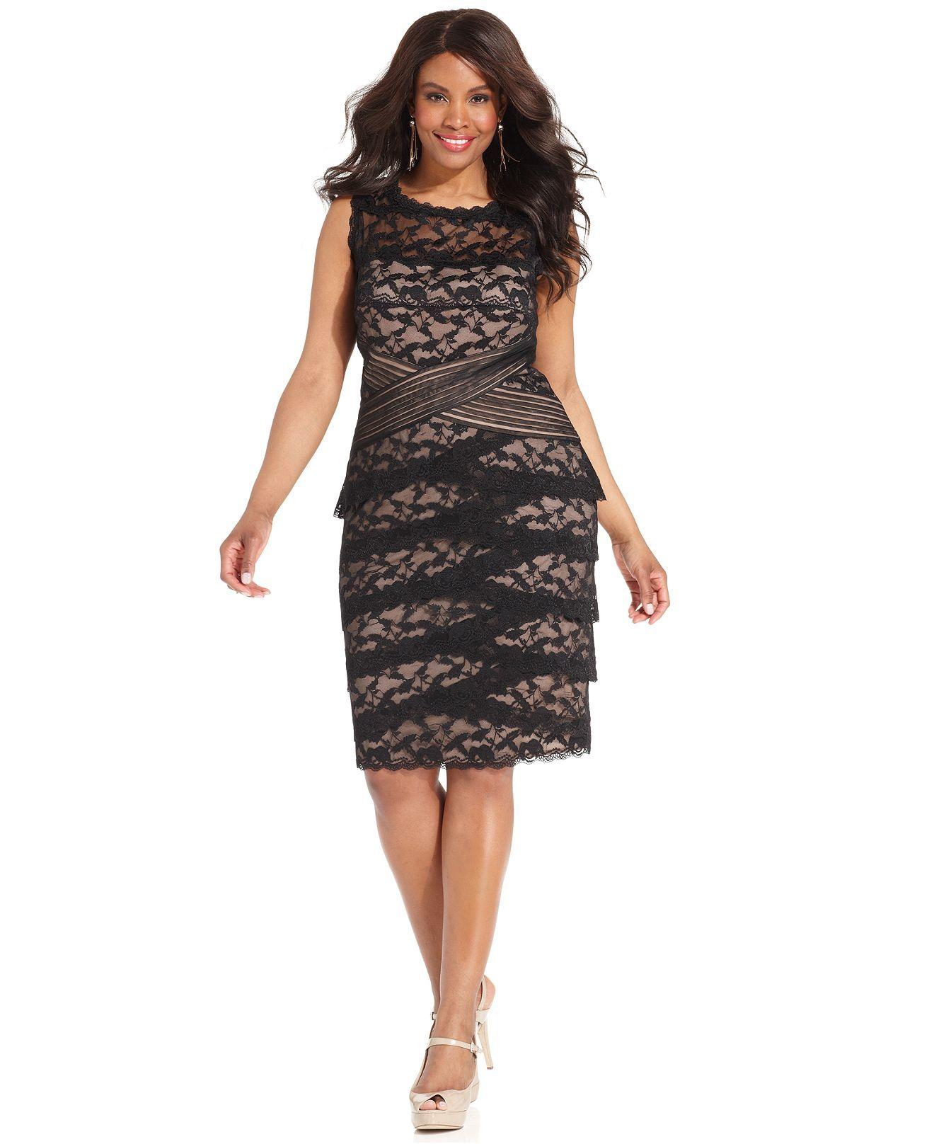 Marina Plus Size Dress, Sleeveless Tiered Lace - Plus Size | Plus ...