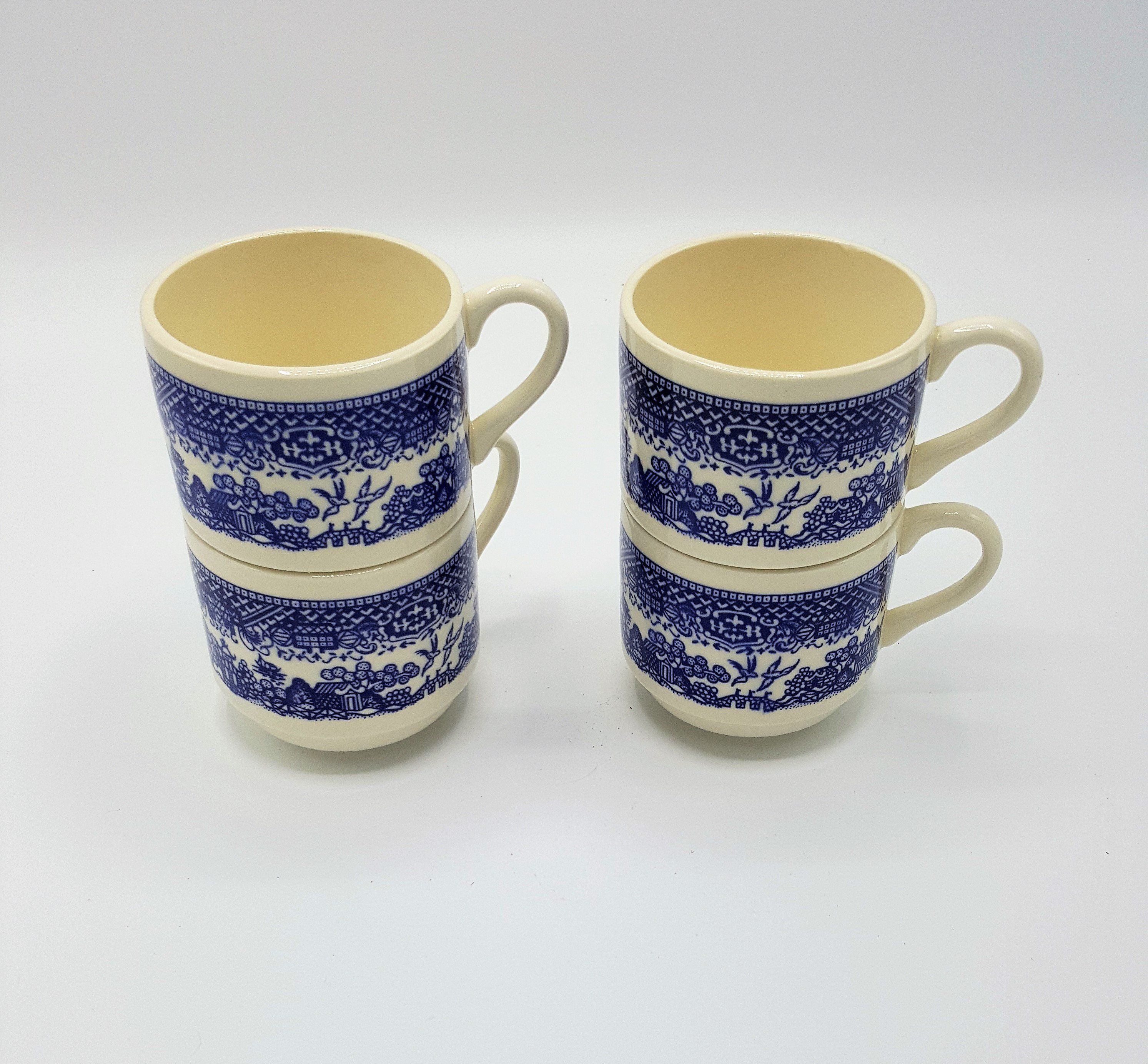 Vintage Blue Willow USA stacking coffee cups set of 4 Blue