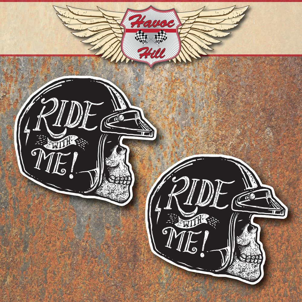 BIKER SKULL VINTAGE STICKERS Motorbike Motorcycle Cafer Racer - Stickers on motorcycles