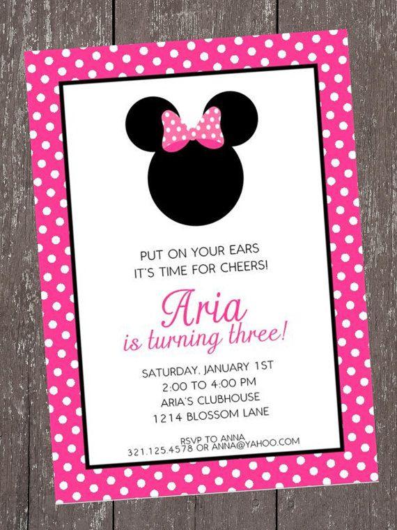Minnie Mouse Birthday Invitation By Papermonkeycompany On Etsy