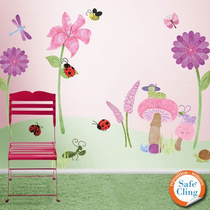 Bugs U0026 Blossoms Wall Mural Sticker Kit
