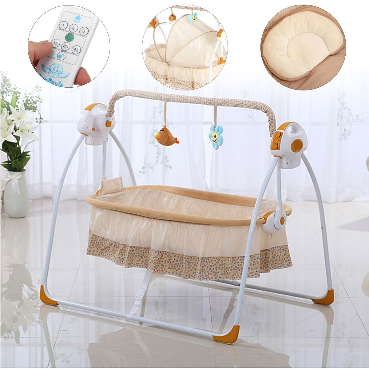Smart Electric Baby Crib Music Cradle Infant Rocker Auto-Swing Sleep Bed Baby