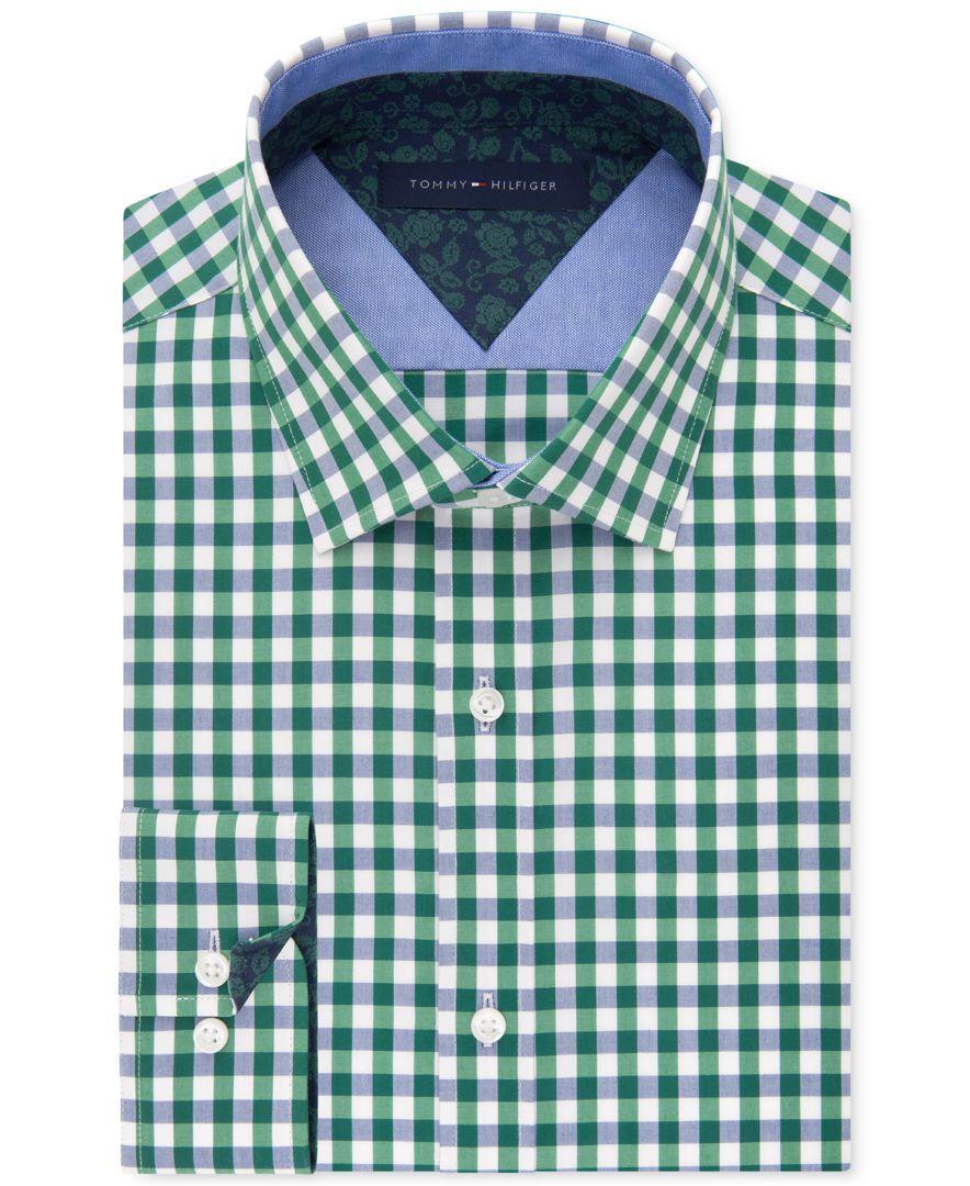 ebca088d3 Tommy Hilfiger Men's Slim-Fit Green Check Liberty-Print Dress Shirt ...