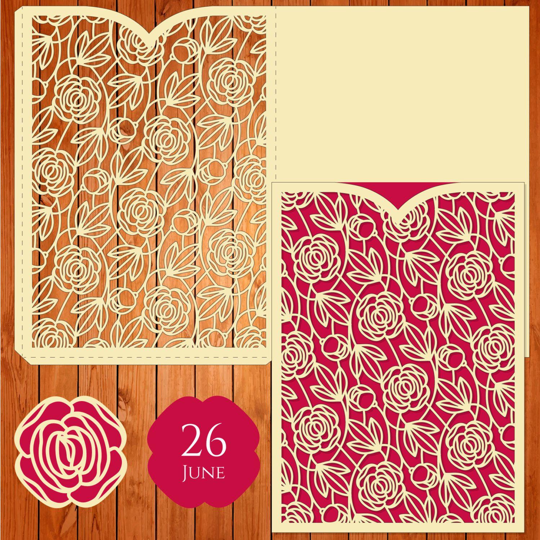Invitación de la boda tarjeta plantilla, figuras, rosas, hojas (ai ...