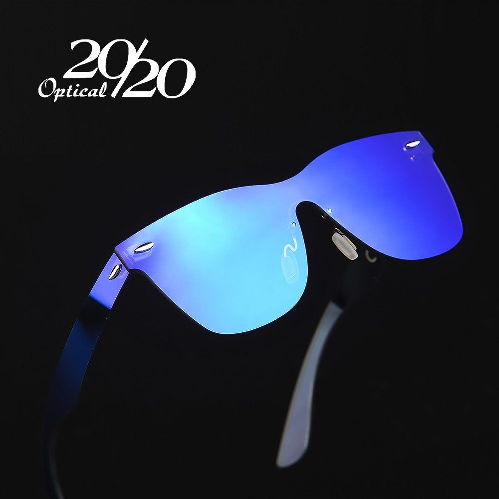 fd83646446 20 20 Brand Vintage Style Sunglasses Men Flat Lens Rimless Square Frame Women  Sun Glasses Oculos Gafas PC1601