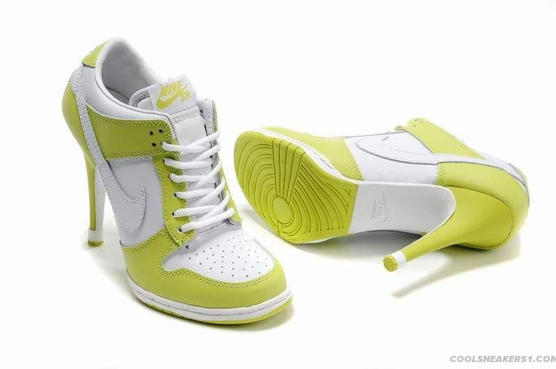 Nike Dunk High Heels White Lime Green