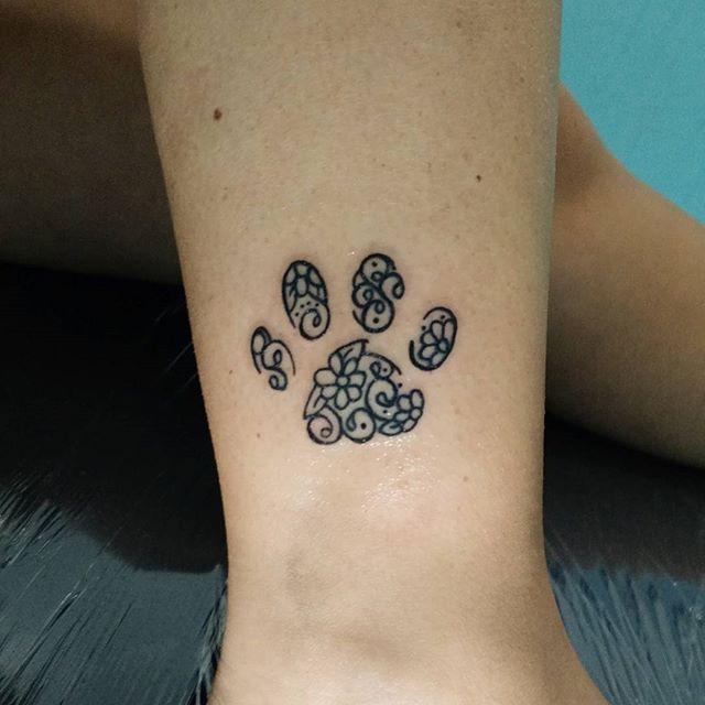 Paw Print Tattoos With Flowers: Dog Tattoos, Animal Lover Tattoo, Animal Tattoos
