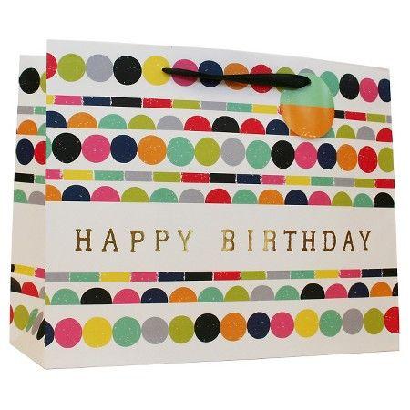 Gift Bag Multi Color Birthday Dots Large SpritzTM Target