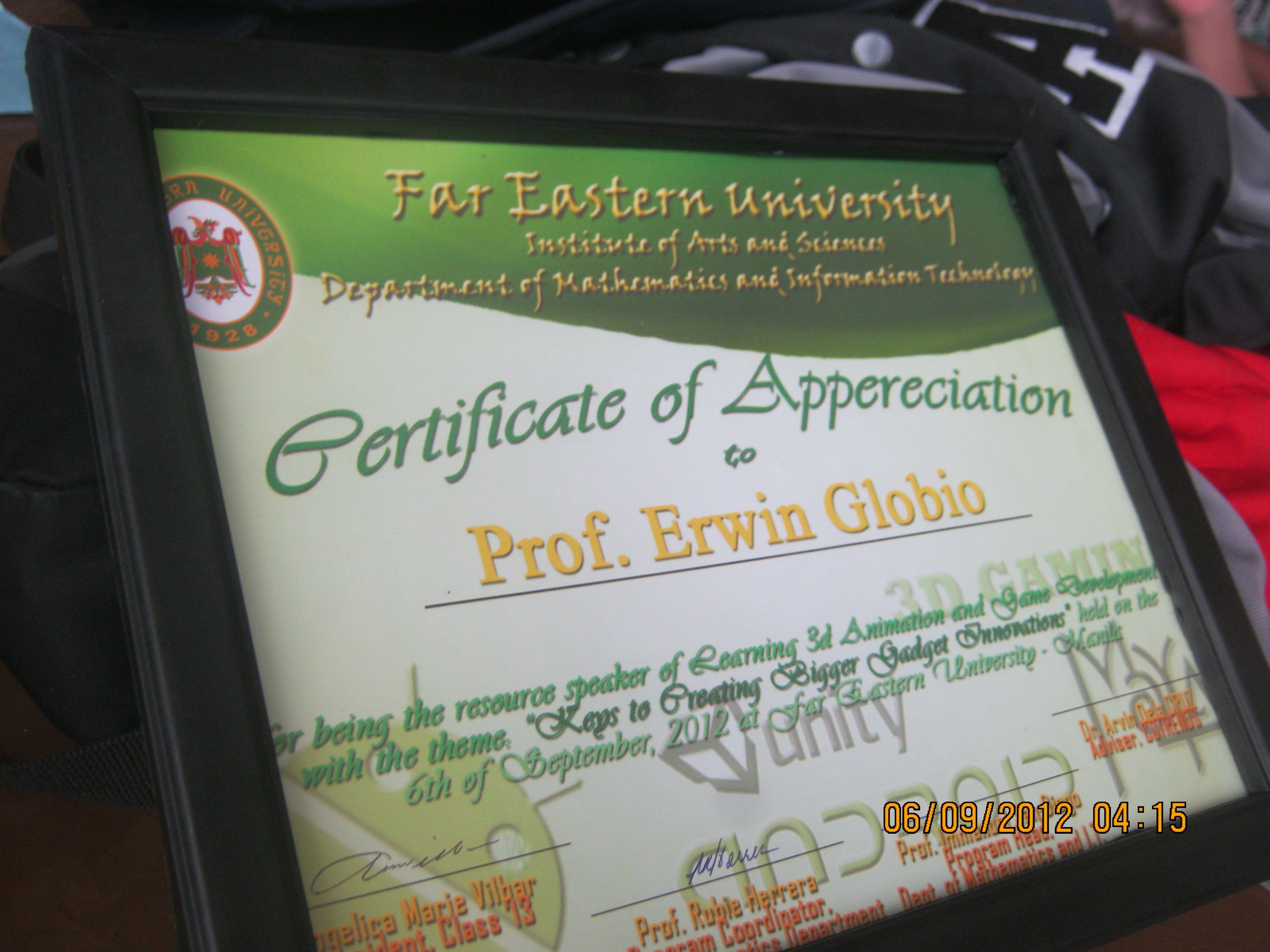 Prof erwin globios certificate of appreciation eglobiotraining erwin globios certificate of appreciation eglobiotraining yelopaper Gallery