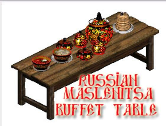 """Russian Vacation Sims Maslenitsa  Buffet2 Click Download Button under blog page title it is blackish silver flashing then Click """"to Save URL in Wayback Machine"""" CLICK THAT!! download will begin WinRAR opens files..once files are accessible put them into your sims game... Path is Program Files/Maxis/Sims put all .iff files in Sims/GameData/Objects folder put all BMP & CMX & SKN files in Sims/GameData/Skins folder all SKIN files MUST be loose There should be No subfolders in your skins folder"""