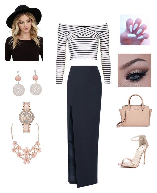 """""""Black, white and blush"""" by savannahdominguez ❤ liked on Polyvore featuring Topshop, Elizabeth and James, Michael Kors, Windsor Smith and RHYTHM"""