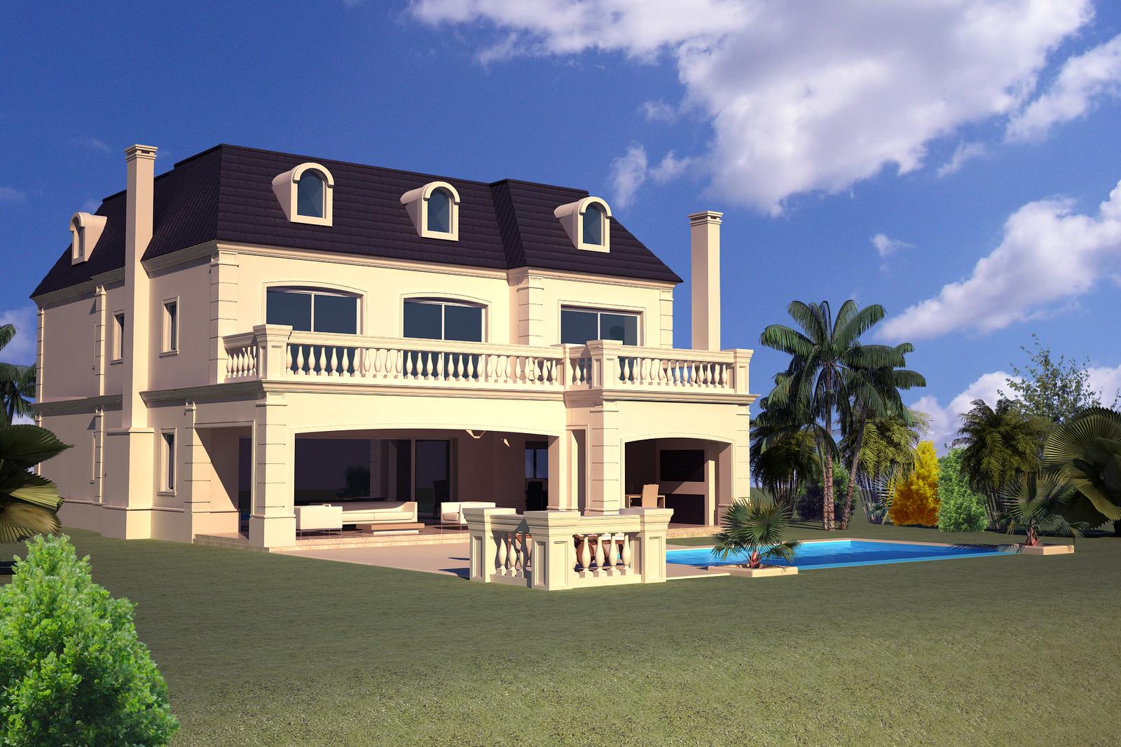 3d makers casas estilo frances nordelta proyectos que for Fachadas de casas estilo clasico