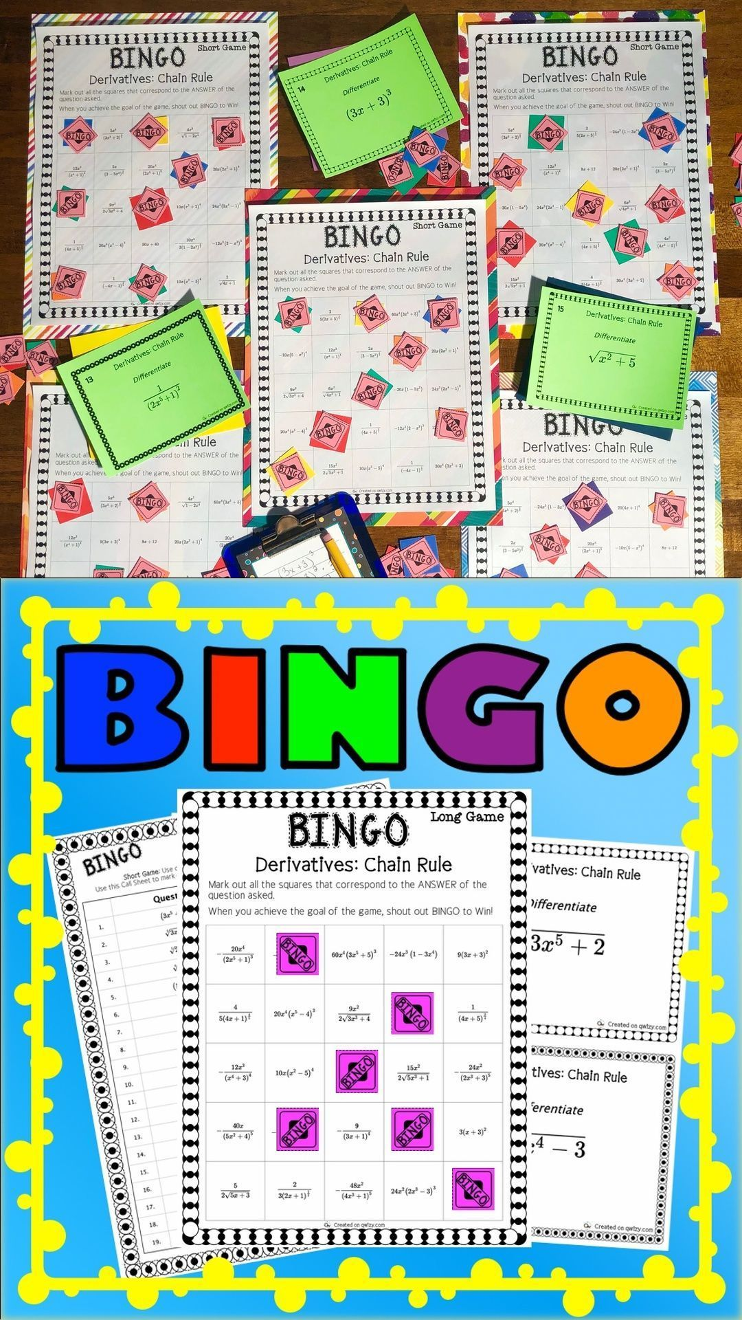 Derivatives Chain Rule Math Bingo Includes All You Need To Run An Exciting Game Of Bingo And Review The Chain Rule At The Same Math Bingo Calculus Math Major