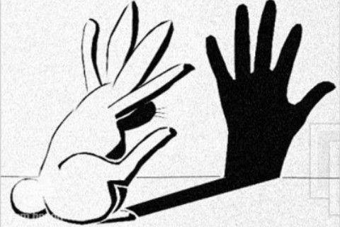 Bunnies do shadow puppets.